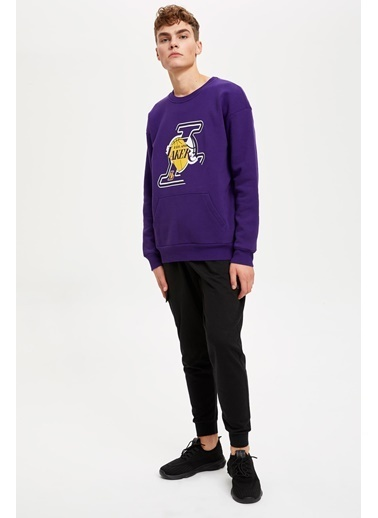 Defacto –Fit NBA Lisanslı Oversize Fit Sweatshirt Mor